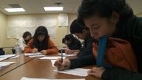 Students are working on their writing.