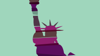 An illustration of the Statue of Liberty wrapped in swaths of various colors.
