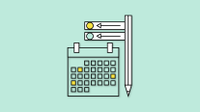 Graphic of calendar, pen, and other planning tools