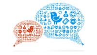 Two speech bubbles formed from icons indicating Twitter and other digital tools
