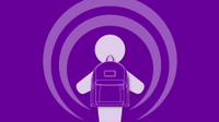Illustration of a purple podcasting icon wearing a backpack