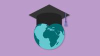Graphic of globe with graduation cap