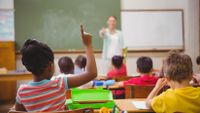 A child raises her hand during a class.