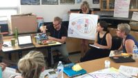 A group of teachers watch as a fellow teacher makes a presentation on a project.