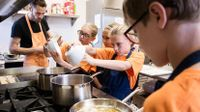 Photo of students cooking together