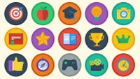 Illustration of a variety of small images that suggest achievement badges