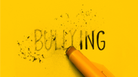 "Graphic of a pencil eraser rubbing out the word ""bullying."""