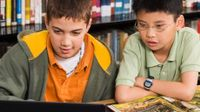 Two boys looking at a laptop and open book