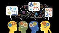 A stylized illustration showing students' minds as they talk to each other