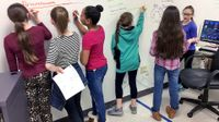 """Six young, female students are standing by a whiteboard wall. They're creating a process outline and delegating each task by writing their name next to each step. The names Rylee, Imani, and Kate are written text to """"brainstorming."""""""