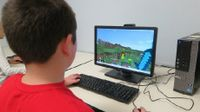 photo of a student playing minecraft