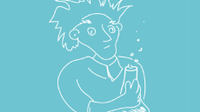 Line drawing of a stereotypical scientist