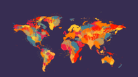 A map of the world, with regions color coded.