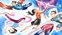 An illustration of five students flying through the sky like superheroes, holding paint brushes, science molecules, a planet, panels, and a rocket.