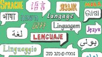 """illustration of the word """"language"""" in multiple languages"""