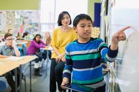 Elementary student pointing at whiteboard in a classroom
