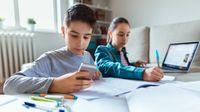 Kids doing digital homework