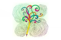 An illustration of a pencil with swirling colors emerging from the back end of it, symbolizing creativity and ideas