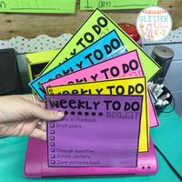 A teacher's laminated, reusable to-do lists