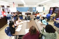 High school students engage in civic debate