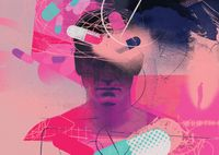 An abstract drawing of a teenage boy in pinks and dark blues, half of his head is covered in shadows with painkiller capsules floating about him