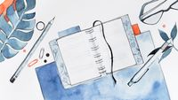 A watercolor illustration of a journal laying open on a desk, surrounded by various objects such as pens, glasses, pencils, and paperclips