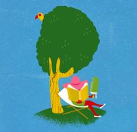 Illustration of woman reading a book by a tree while holding a popscicle