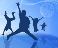 An illustration of kids dancing in silhouette