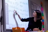Teacher teaching from interactive whiteboard