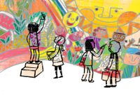 Illustration of children painting a mural