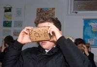 Student using VR device