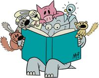 Mo Willems characters reading