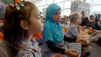 Students at Wooranna Park Primary School practicing a mindfulness meditation