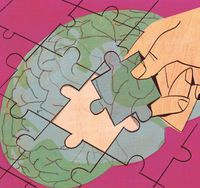 Illustration of a brain with a puzzle piece being placed