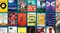 A photo collage of books of fiction for K-12 students