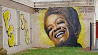 A mural of Maya Angelou at the P.S. 316 in Prospect Heights, Brooklyn, New York