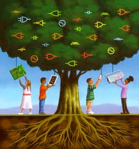 An illustration concept of children interacting with technology