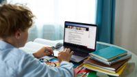 Teenage boy at desk attending online class.