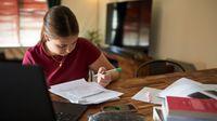 Middle school-aged girl doing homework