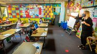 First grade classroom with students and teacher wearing masks while socially distanced