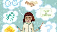 """An illustration of a female teacher with six thought bubbles behind her. The six thought bubbles show: a question mark, the words, """"Make it happen,"""" a hand shake, an angry and sad face, a listening ear, and a drawing of a turtle."""