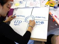 "A female student is writing on a big piece of paper the words ""Thermal,"" ""Kinetic,"" ""LED lights,"" and ""USB port."" The paper is divided into four sections, and each word has its own section."