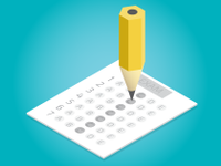 An illustration of a pencil filling in a multiple choice exam.