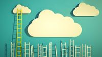 Stylized illustration of ladders rising up toward clouds