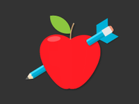 Illio of a red apple with a pencil arrow through the middle