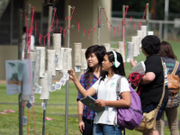 A photo of a group of students looking at the outdoor display.