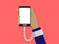 An illustration of a hand chained to a smartphone.