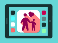 Graphic of tablet screen with image of parent and child