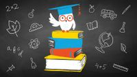 An illustration of an owl drawn on a chalkboard wearing glasses and a graduation cap standing on four books.