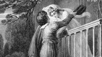 A black and white, grainy, Shakespearean illustration of a man holding onto a rope from a balcony, looking up towards a woman in a white dress standing on the balcony.